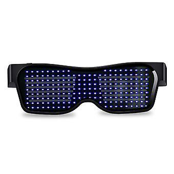 App Control Bluetooth Led Party Glasses Customized Languages Usb Charge Flashing Luminous Eyewear Christmas Concert Sunglasses