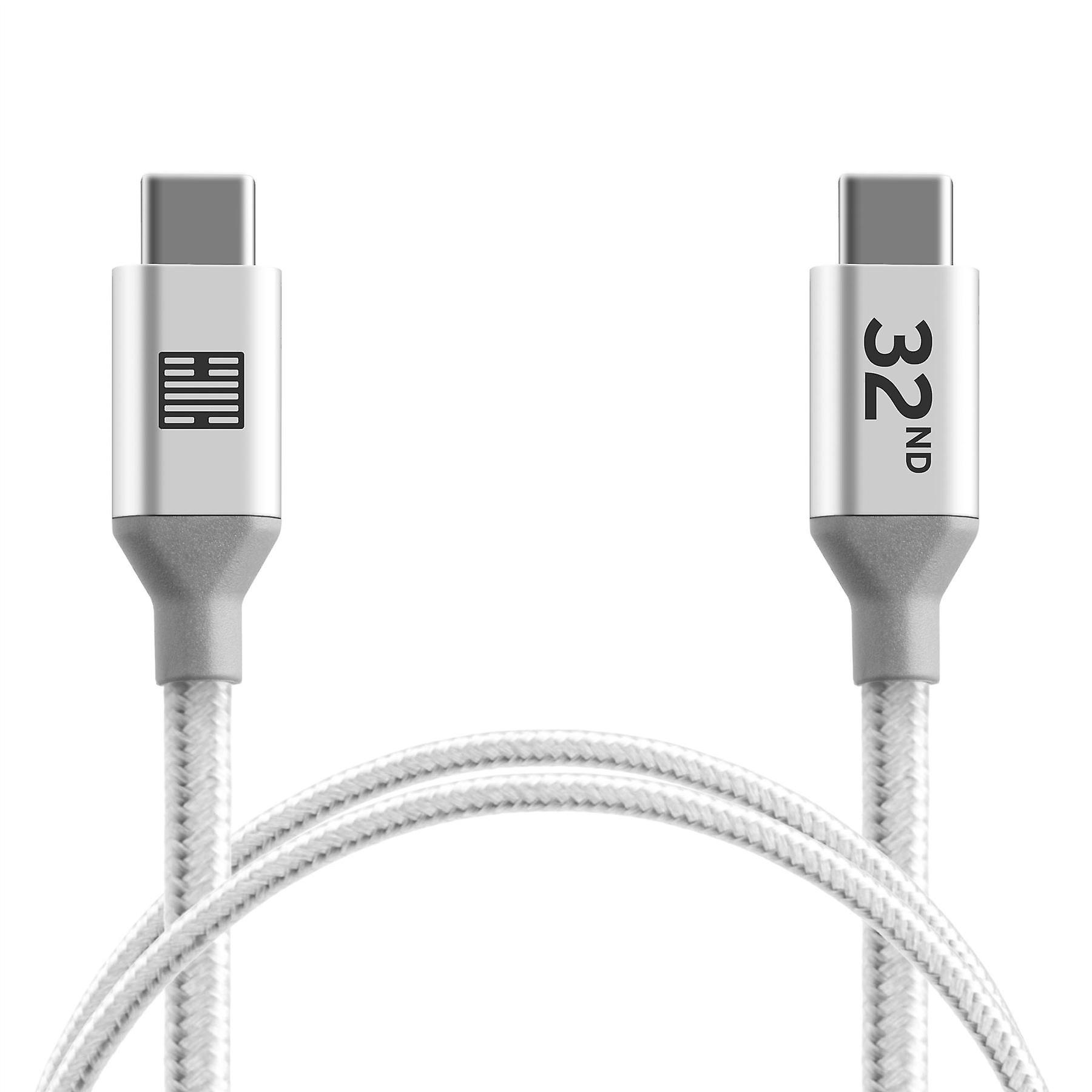 32nd Braided Nylon USB Type-C  to USB Type-C cable 1m - Silver