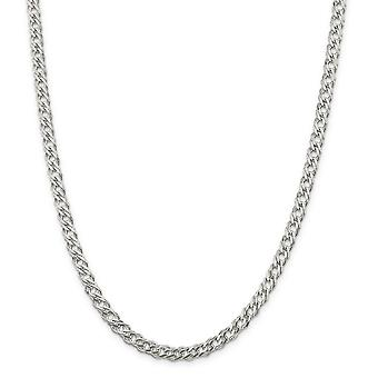 925 Sterling Silver Lobster Claw Closure 5.25mm Double 6 Side Sparkle Cut Flat Link Chain Necklace Jewelry Gifts for Wom