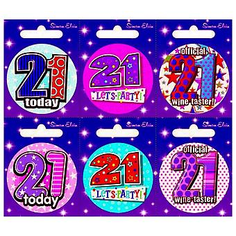 Simon Elvin 21 Today Small Badge (Pack Of 6)