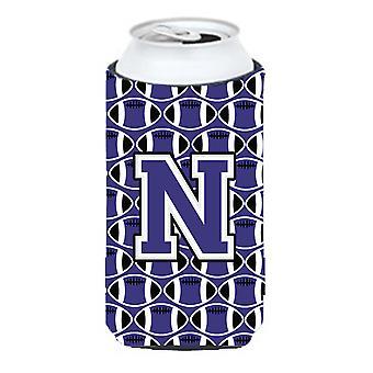 Lettera N calcio viola e bianco Tall Boy Beverage isolante Hugger