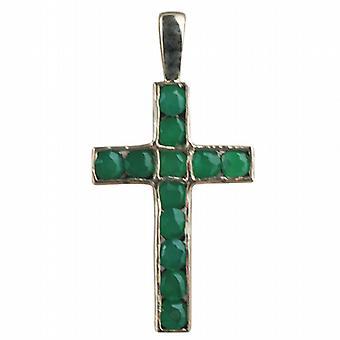 9ct Złota 25x16mm Apostoła krzyż ustawiony z 12 Agat zielony