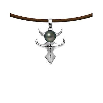 Male Tribal Pendant necklace in Leather, Pearl of Tahiti and Silver Massif 925 5490