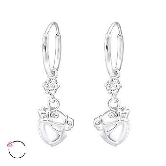 Hanging Horse Crystal From Swarovski® - 925 Sterling Silver Earrings - W32893x