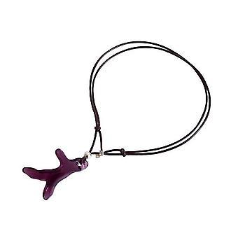 Læder armbånd koral lilla violet HAYDEN 925 sølv vedhæng krystal element