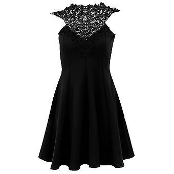 Dames mouwloos gehaakt Trim Lace nek Tie terug Women's Party Skater jurk