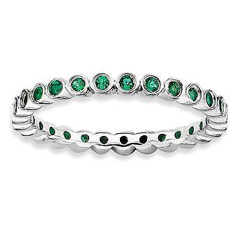 925 Sterling Argento lunetta lucidato Rhodium placcato espressioni impilabili creato smeraldo anello gioielli per