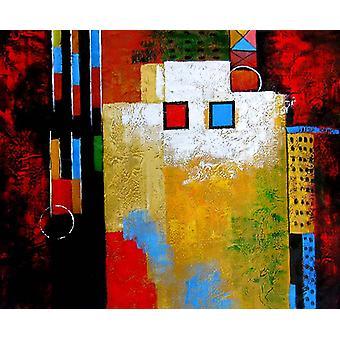Abstrakti kissa, öljy maalaus kankaalle, 50x60 cm