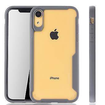 Grå premium Apple iPhone case XR hybrid Edition | Stöd för trådlös laddning | fina akryl med mjuk silikon kant grå