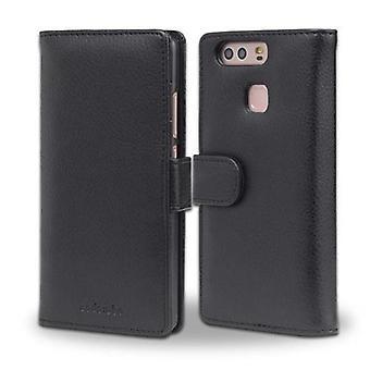 Futerał Cadorabo do obudowy Huawei P9 - etui na telefon z magnetycznym zapięciem i kieszeniami na 3 karty - Obudowa ochronna Case Case Book Folding Style