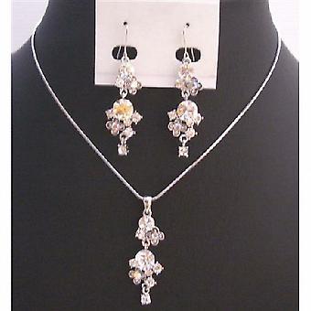 Tanie wesele niedrogie biżuteria z symulowanym diament biżuteria Set
