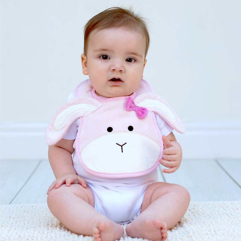 Pink Bow Bunny bib