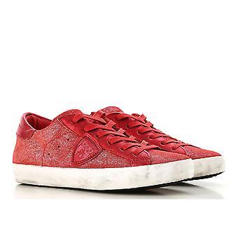 Sneaker de Philippe modèle femme en veau rouge lethar avec semelle en caoutchouc blanc