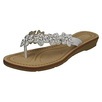 Ladies Savannah Toepost Flower Trim Sandals F10873