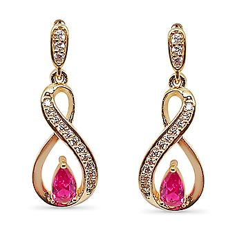 Ah! Jewellery Ribbon Twist Earrings With Fuchsia Pear & Paved Crystals From Swarovski