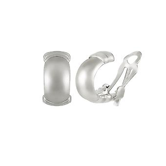 Eternal Collection Clarendon High Gloss Silver Tone Half Hoop Clip On Earrings