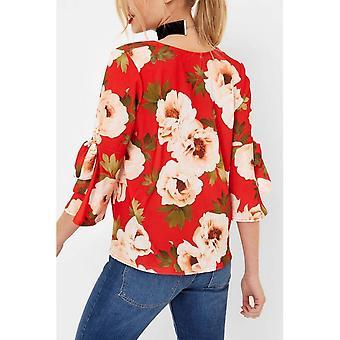 Girls On Film Womens/Ladies rode bloemen Print stropdas mouw Blouse.