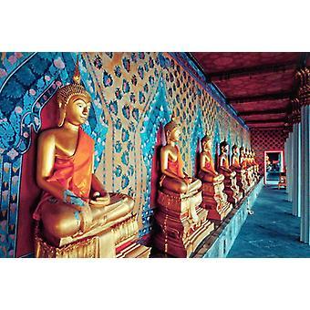 Tapete Wandbild Goldene Statuen von Buddha