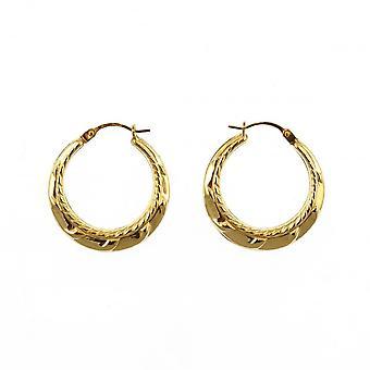 Evighet 9ct vitguld Gold Round fancy pärlstav kant Creole Hoop Örhängen