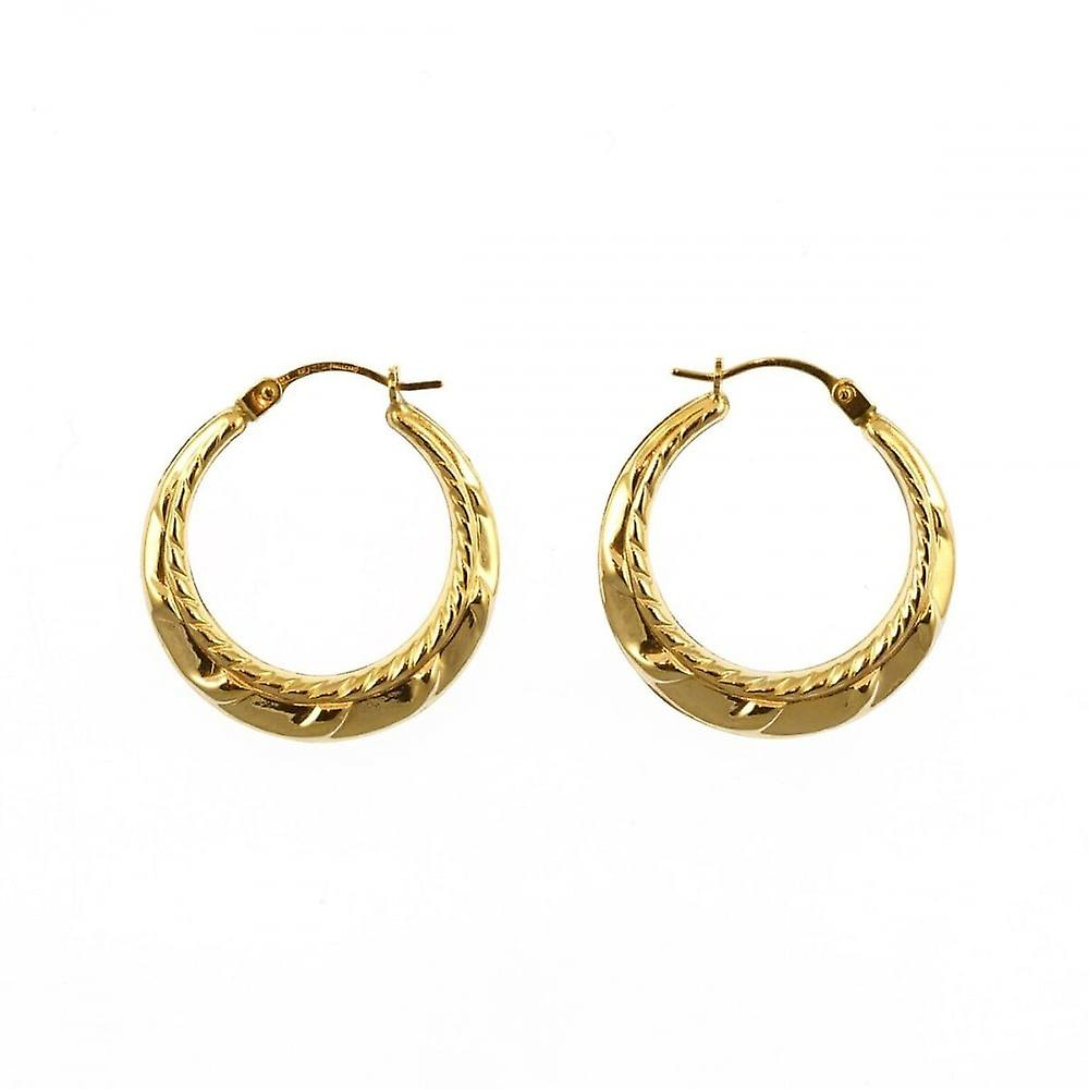 Eternity 9ct Gold Round Fancy Beaded Edge Creole Hoop Earrings