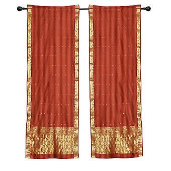 2 Boho Rust Indian Sari Curtains Rod Pocket Window Panels Drapes