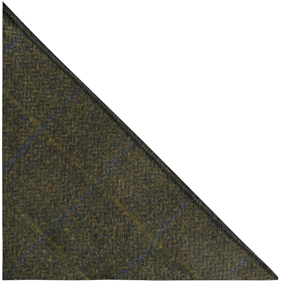 Luxury Juniper Green Herringbone Check Pocket Square, Handkerchief, Tweed