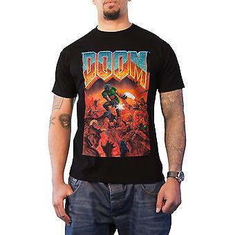Doom T Shirt Classic Box Art Logo Gaming new Official Mens Black
