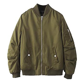 Allthemen mannen Solid Flight Jacket losse Boomer jas voor mannen