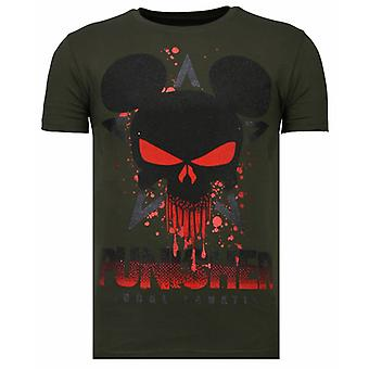 Punisher Mickey-Rhinestone T-shirt-Khaki