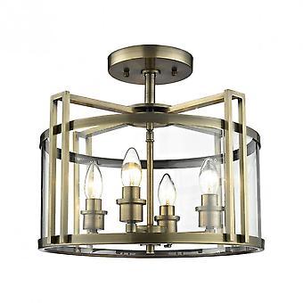 Diyas Eaton Semi Ceiling 4 Light Antique Brass/Glass