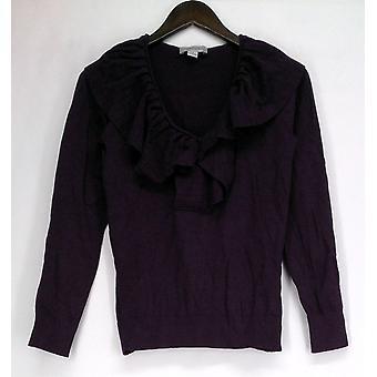 Julie Chaiken for Anonymity Sweater Ruffle Front Dark Purple A209301