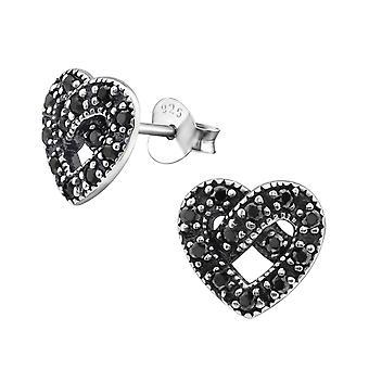 Сердце - 925 стерлингового серебра кубического циркония уха шпильки - W30817x