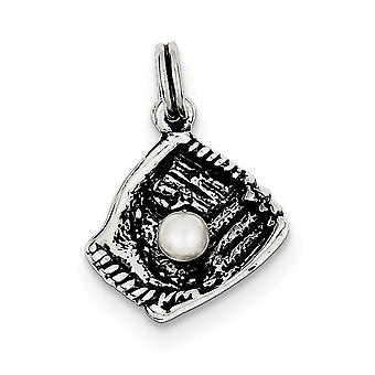 925 Sterling Silver Solid Textured Polished Simulated Antique finish Baseball Glove With Syn. Freshwater Cultured Pearl