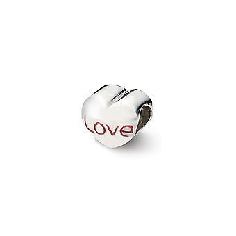 925 Sterling Silver Enamel Polished Reflections Love Heart Bead Charm Pendant Necklace Jewelry Gifts for Women