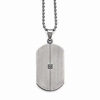 Edelstahl Matt 0.04ct.tw Diamant Tier Pet Tag Halskette 22 Zoll Schmuck Geschenke für Frauen