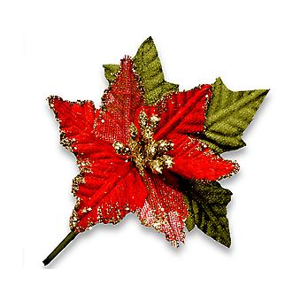 12 Pack 9cm Fabric Christmas Red Poinsettia Picks   Christmas Floristry Supplies