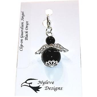Handmade Clip-on Semi-precious Black Onyx Gemstone Guardian Angel in Silver Plated by Nyleve Designs