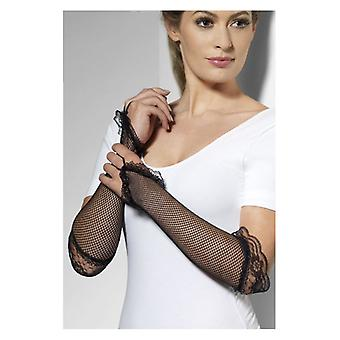 Womens Black Long Fingerless Fishnet Gloves Black Fancy Dress Accessory