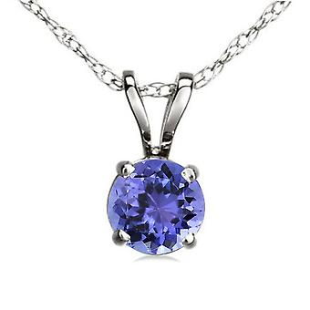 Dazzlingrock Collection 14K 6 mm Round Cut Tanzanite Ladies Solitaire Pendant (Silver Chain Included), White Gold