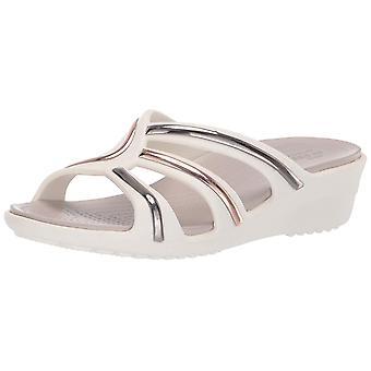 Crocs Women's Sanrah Metal Block Strap Wedge Sandal