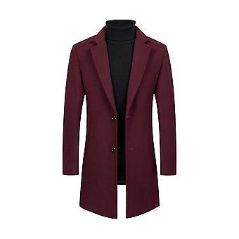 Allthemen menn ' s ull-inneholdende varm frakk solid mid-lang frakk