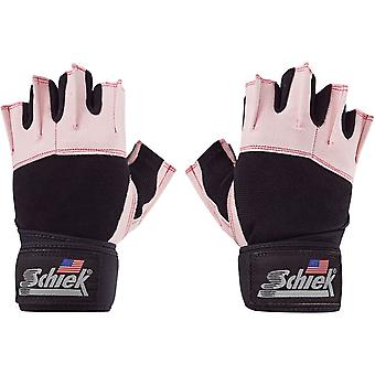 Schiek Sports Platinum 3/4 Finger Wrist Wrap Lifting Gloves - Pink/Black