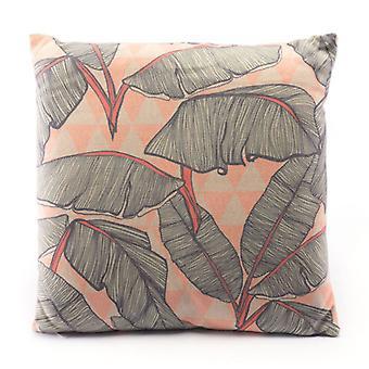 Tropische Palmen Coral Pink Square Kissen