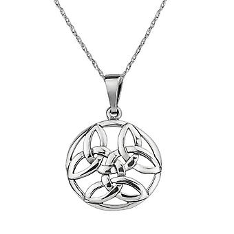 Celtic Holy Trinity Knots Round Drop Style Necklace Pendant 'Nerys' - Includes A 16