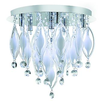 Spindle - Remote Controlled  6 Light Flush Ceiling, Chrome With Clear/white Glass Deco