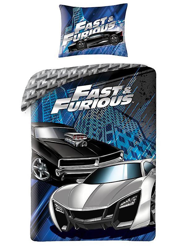 Fast & Furious Blue Single Cotton Duvet Cover Set