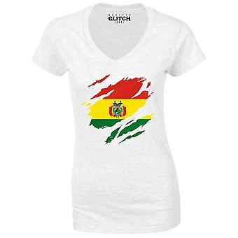 Realiteit glitch gescheurd Bolivia vlag Womens t-shirt-v-hals