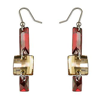 925 Silver Champagne & Red Crystal Drop Earrings, Made With Swarovski Elements