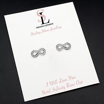 925 Sterling Silver Aaaaa Cz Pave Infinity Stud Earrings