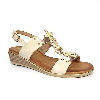 Lunar Maple Låg Wedge Perspex Sandal CLEARANCE